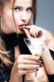 Martini and olive — Stock Photo