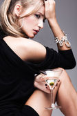 Woman with martini — Stock Photo