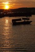 日落在南湾的端口 — 图库照片