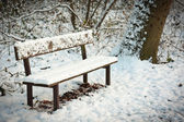 Park bench snowed under — Stok fotoğraf