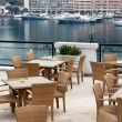 Royalty-Free Stock Photo: Restaurant terrace overlooking yacht harbor