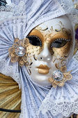 Yellow and white venice carnival mask — Stock Photo