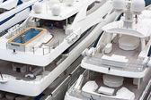 Luxurious triple deck yachts — Stock Photo