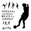 Stock Vector: Soccer players silhouette