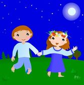 Happy couple boy and girl in the night — Stockvector