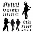 Man and girl dancer silhouette — Stock Vector