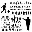 Active silhouette set — Stock Vector
