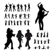 Man and girl dancer silhouette — Cтоковый вектор