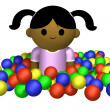 Girl playing in ball pool — Stockfoto