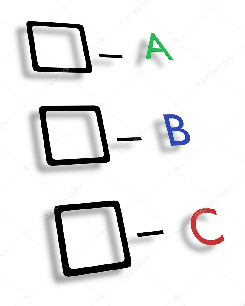 Illustrated check boxes with letters in different colours — Stock Photo #5388751