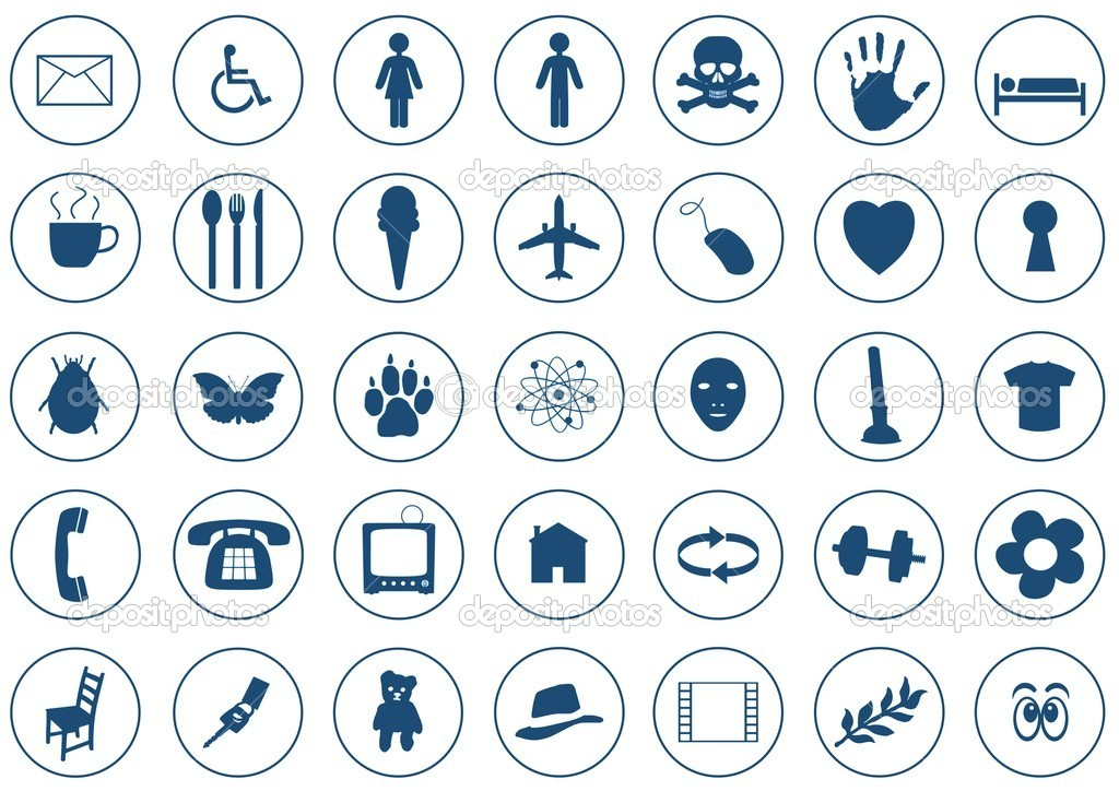 35 Various Blue Icons on white background — Stock Photo #5571353