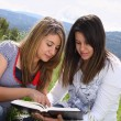 2 Girls Reading Together - Stock Photo