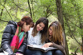3 Girls Reading Together — Foto de Stock