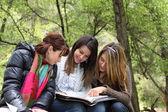 3 chicas leyendo juntos — Foto de Stock