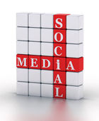 Social Media. cubes crossword series — Stock Photo