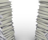 Stack real books on white background, partial view. — Foto Stock