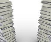 Stack riktiga böcker på vit bakgrund, ofullständig bild. — Stockfoto