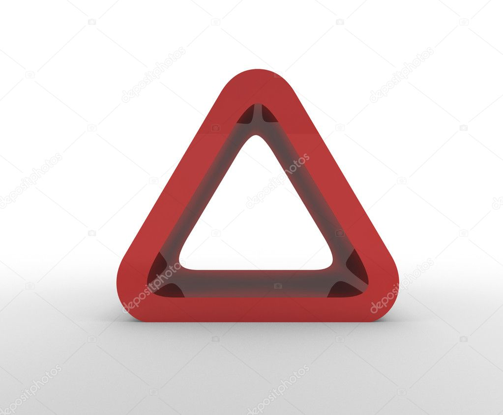 Red warning triangle with copy spac  Stock Photo #5562427