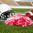 American Football, Helmet, and Pom Poms — Stock Photo