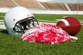 American Football, Helmet, and Pom Poms — Stock Photo