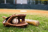 Old Baseball, Glove, and Bat on Field — Stock Photo