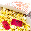 Popcorn and Movie Tickets Isolated Closeup — Stock Photo