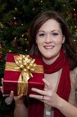 Leende ung kvinna håller julklapp — Stockfoto