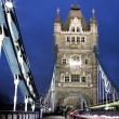Traffic on The Tower Bridge at night in London, UK — Stock Photo