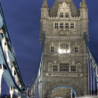 Traffic on The Tower Bridge at night in London, UK — Stock Photo #5588774