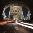 Traffic on The Tower Bridge at night in London, UK — Stock Photo #5588780