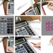 Collage, calculator, paper and pen — Stock Photo #5433459
