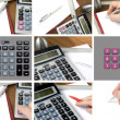 Collage, calculator, paper and pen — Stock Photo