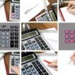 collage, calcolatrice, carta e penna — Foto Stock