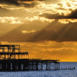 The West Pier in Brighton at sunset — Stock Photo
