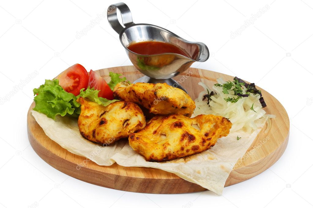 Chicken breast with sauce and vegetables  Stock Photo #5963231