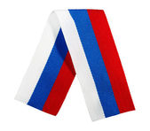 Silk ribbon - the Russian flag, isolated on a white background — Stock Photo