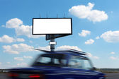Billboard and vehicle speed on — Stock Photo