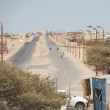 Stock Photo: Dual carriageway road in africdesert