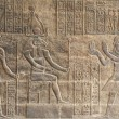 Hieroglyphic carvings on an Egyptian temple wall — Stock Photo #5631526