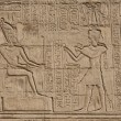 Hieroglyphic carvings on an Egyptian temple wall — Stock Photo