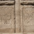 Hieroglyphic carvings on an Egyptian temple wall — Zdjęcie stockowe
