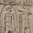 Hieroglyphic carvings on an Egyptian temple wall - Stock Photo