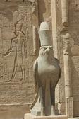 Statue of the falcon god at the Temple of Edfu — Stock Photo