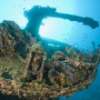 Gun on a the stern of a large shipwreck — Foto Stock