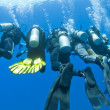 Foto Stock: Divers on rope underwater