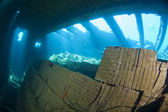 Tiles in the hold of a large shipwreck — Stock Photo