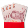 Thai Banknotes in red envelope — Stock Photo