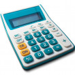 White calculator green white yellow button — Stock Photo #5825345