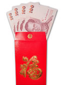 Thai Banknotes in chinese style red envelope — Stock Photo