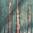 Old Green chipping wood wall — Stock Photo